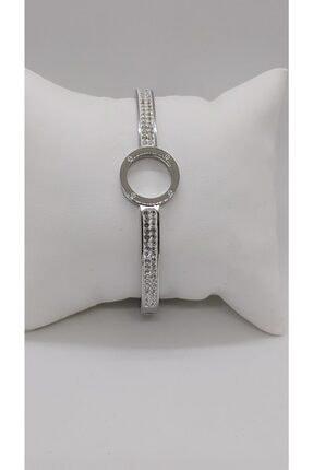 Ananas Accessories Kadın Çelik Taşlı Bileklik Gümüş 0
