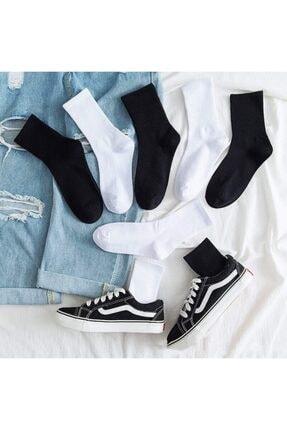 çorapmanya 6' Lı Paket Siyah+beyaz Çizgisiz Pamuklu Kolej Tenis Çorap 0
