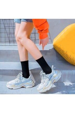 çorapmanya 6' Lı Paket Siyah+beyaz Çizgisiz Pamuklu Kolej Tenis Çorap 1