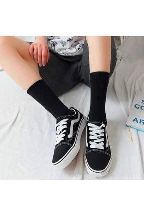 çorapmanya 6' Lı Paket Siyah+beyaz Çizgisiz Pamuklu Kolej Tenis Çorap 3