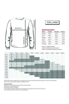Collage Get A B Baskılı Gri Erkek Örme Sweatshirt Uzun Kol 1