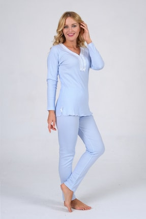 Pijama Denizi Uzun Kollu Düğmeli Pijama Takımı Mavi Çizgili Dantel Yaka Interlok 1