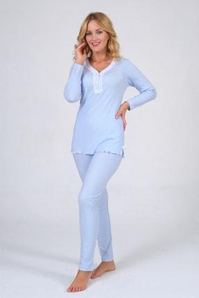 Pijama Denizi Uzun Kollu Düğmeli Pijama Takımı Mavi Çizgili Dantel Yaka Interlok 2