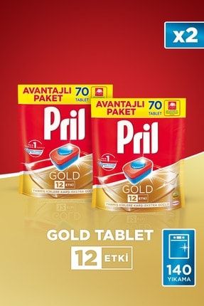 Pril Gold 70'li Tablet 2'li Set + 22 Cm Papilla Tava Hediyeli 2