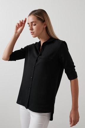Lela Kadın Siyah Pamuklu Katlanabilir Uzun Kollu Gömlek Gömlek 1