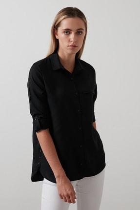 Lela Kadın Siyah Pamuklu Katlanabilir Uzun Kollu Gömlek Gömlek 2