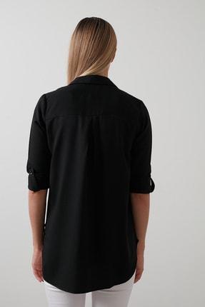 Lela Kadın Siyah Pamuklu Katlanabilir Uzun Kollu Gömlek Gömlek 3