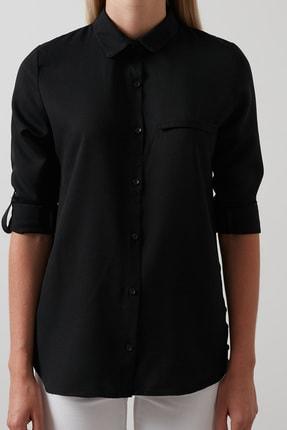 Lela Kadın Siyah Pamuklu Katlanabilir Uzun Kollu Gömlek Gömlek 4