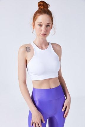 VAYU Beyaz Hera Halter Yaka Tül Detaylı Yoga & Pilates Sporcu Sütyeni 0