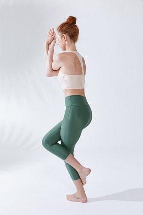 VAYU Kadın Krem Halter Yaka Tül Detaylı Yoga ve Pilates Sporcu Sütyeni 3