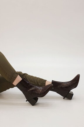 SAYEN Kadın Kahve Croco Topuklu Bot 4