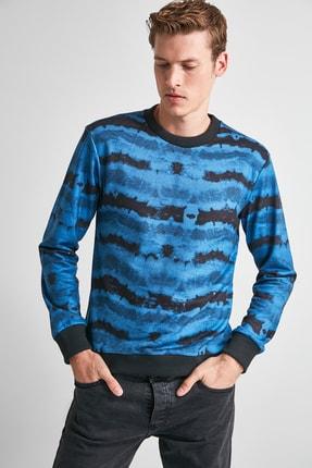 TRENDYOL MAN Indigo Erkek Baskılı Bisiklet Yaka Regular Sweatshirt TMNAW21SW0488 1