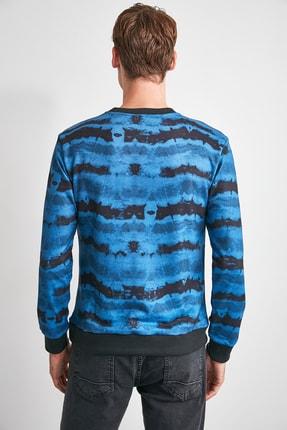 TRENDYOL MAN Indigo Erkek Baskılı Bisiklet Yaka Regular Sweatshirt TMNAW21SW0488 4