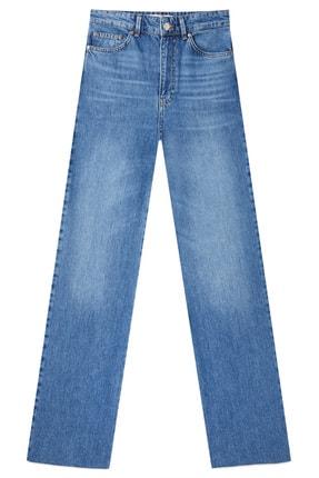 Stradivarius Kadın Orta Mavi Straight Fit Jean 04891872 4