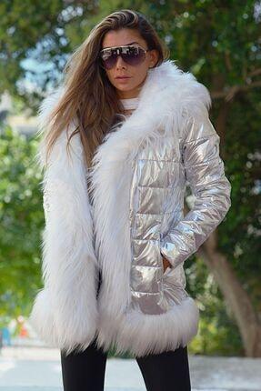 Keyifli Moda Kadın Clara Gümüş Su Geçirmez Kürklü Mont 2