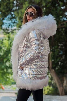 Keyifli Moda Kadın Clara Gümüş Su Geçirmez Kürklü Mont 3