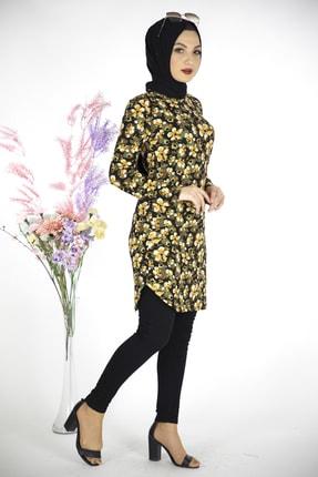 MODANOİVA Kadın Sarı Çiçek Desen Krep Tesettür Tunik 4