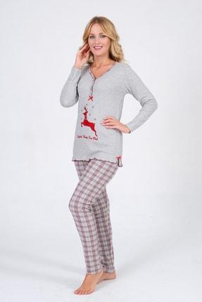 Pijama Denizi Kadın Uzun Kollu Düğmeli  Geyik Nakışlı Gri Ekoseli Interlok Pijama Takımı 0