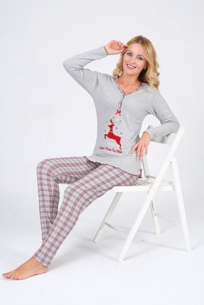 Pijama Denizi Kadın Uzun Kollu Düğmeli  Geyik Nakışlı Gri Ekoseli Interlok Pijama Takımı 1