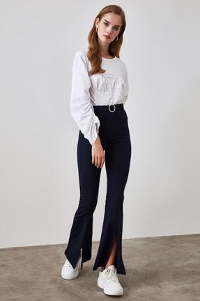 TRENDYOLMİLLA Lacivert Taşlı Kemerli Yırtmaç Detaylı Örme Pantolon TWOSS20PL0100 2
