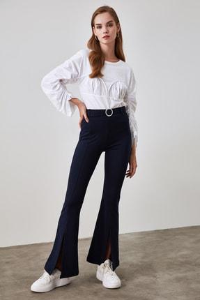 TRENDYOLMİLLA Lacivert Taşlı Kemerli Yırtmaç Detaylı Örme Pantolon TWOSS20PL0100 3