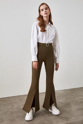 TRENDYOLMİLLA Haki Taşlı Kemerli Yırtmaç Detaylı Örme Pantolon TWOSS20PL0100 1