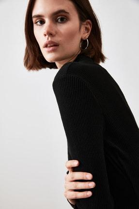 TRENDYOLMİLLA Siyah Fitilli Bodycon Midi Örme Elbise TWOAW21EL0135 3