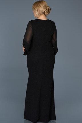 VOLİNAY TEKSTİL Kadın Siyah Büyük Beden Kolu Şifon Simli Abiye Elbise 1