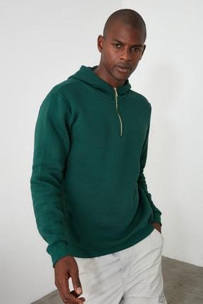 TRENDYOL MAN Ördek Başı Yeşili Erkek Kapüşonlu Yarım Fermuarlı Yeni Sweatshirt TMNAW20SW0507 0