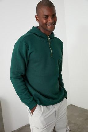 TRENDYOL MAN Ördek Başı Yeşili Erkek Kapüşonlu Yarım Fermuarlı Yeni Sweatshirt TMNAW20SW0507 3