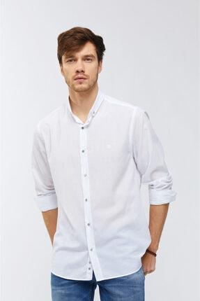 Avva Düz Düğmeli Yaka Slim Fit Uzun Kol Vual Gömlek 2