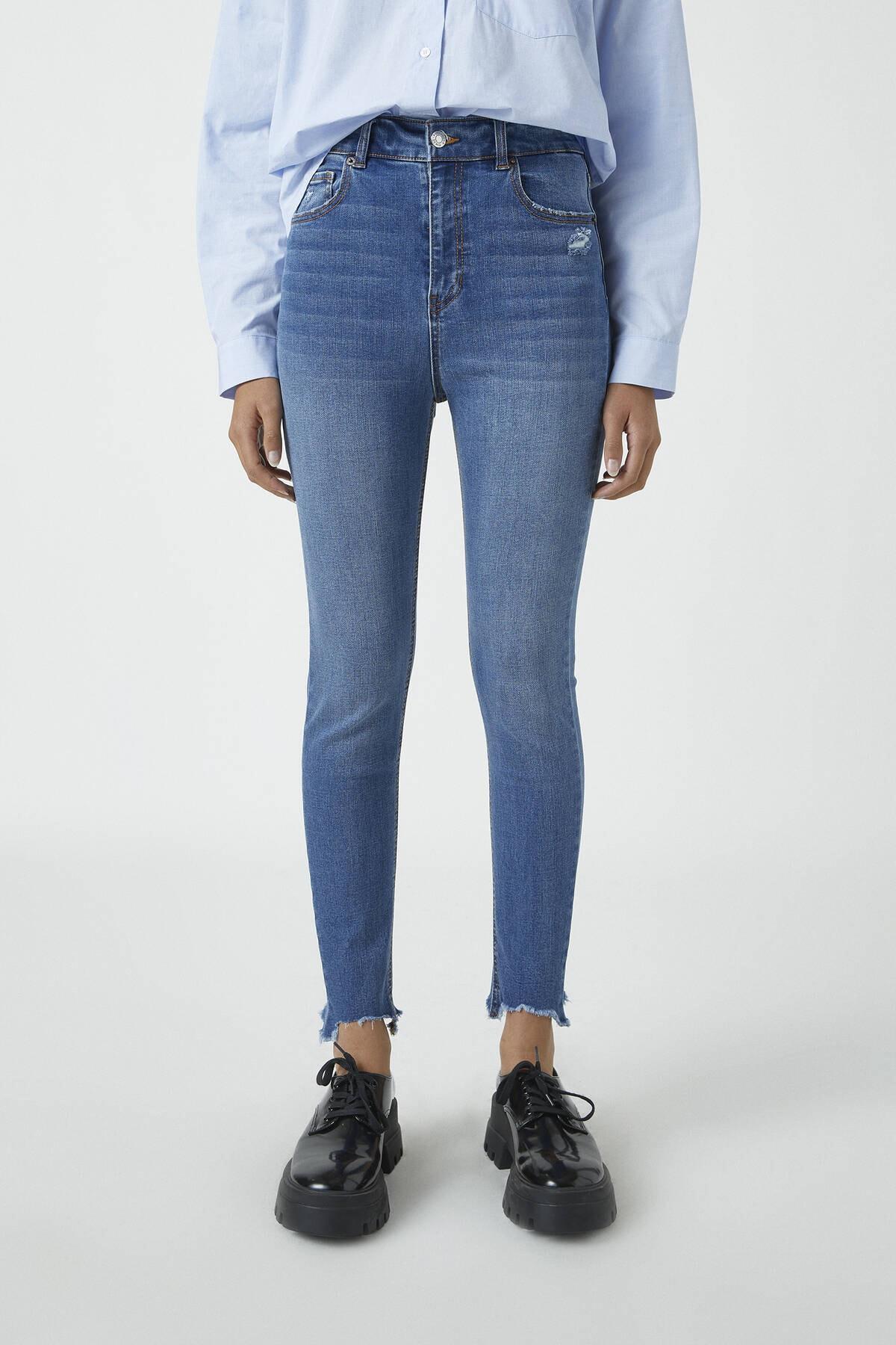 Pull & Bear Kadın Orta Mavi Yüksek Bel Skinny Fit Kapri Jean 09689301 2