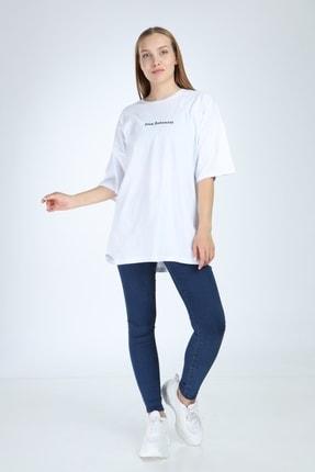 Millionaire Kadın Beyaz Stay Antisocial Baskılı Oversize Tshirt 3