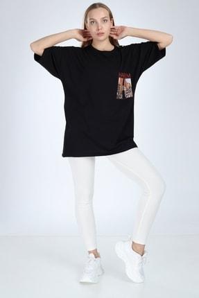 Millionaire Siyah Harlem Baskılı Oversize T-shirt 1