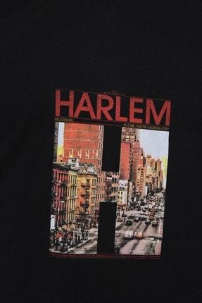 Millionaire Siyah Harlem Baskılı Oversize T-shirt 4