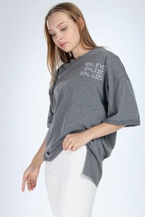 Millionaire Kadın Koyu Gri Real Eyes Oversize T-shirt 1