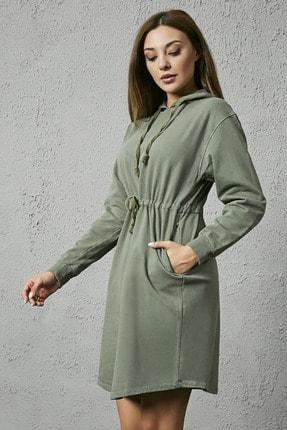 Sateen Kadın Haki Kapüşonlu Sweat Elbise 3