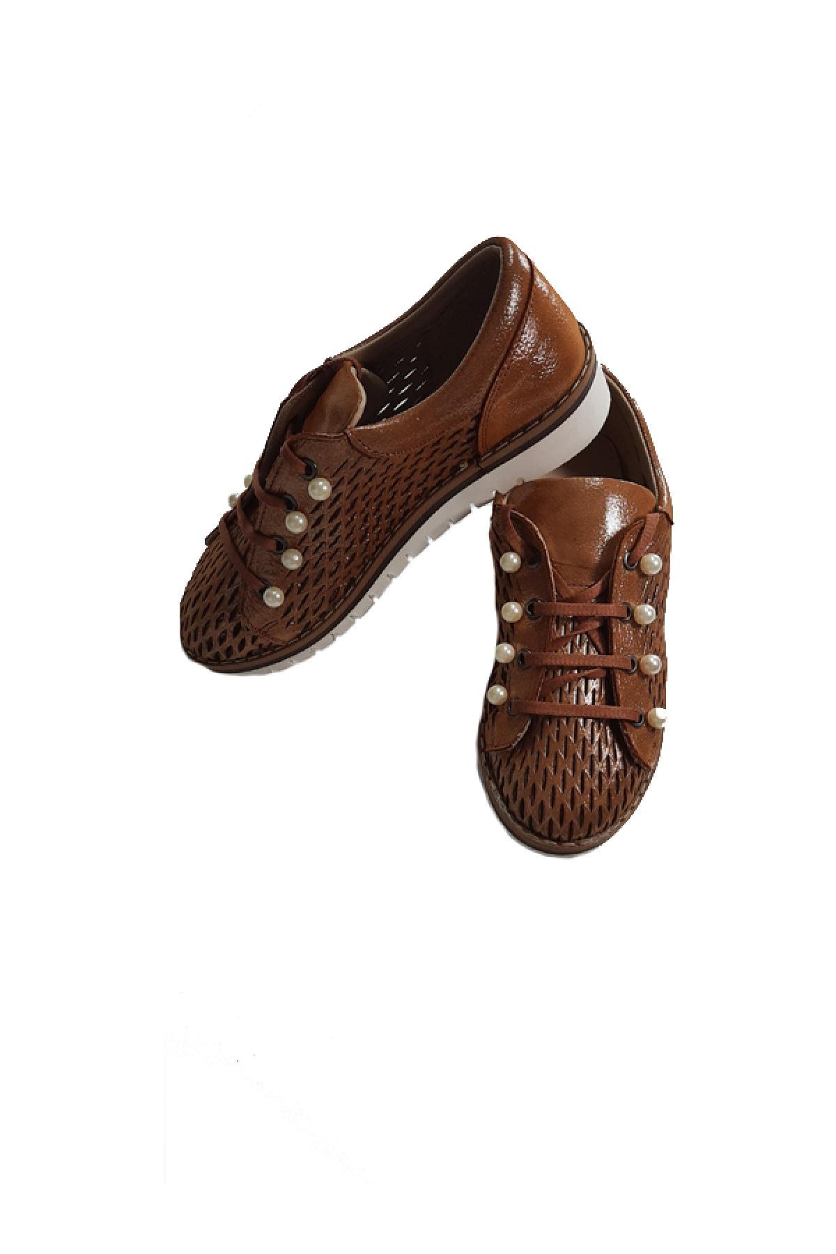 KAPAR Kadın Kahverengi Hakiki Deri Bağcıklı Casual Ayakkabı