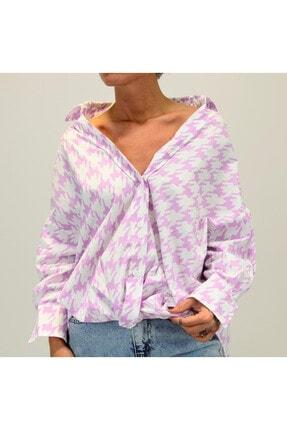 Shoppingdimoda Kadın Lila Düşük Kol Oversize Gömlek 0