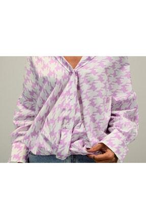 Shoppingdimoda Kadın Lila Düşük Kol Oversize Gömlek 2