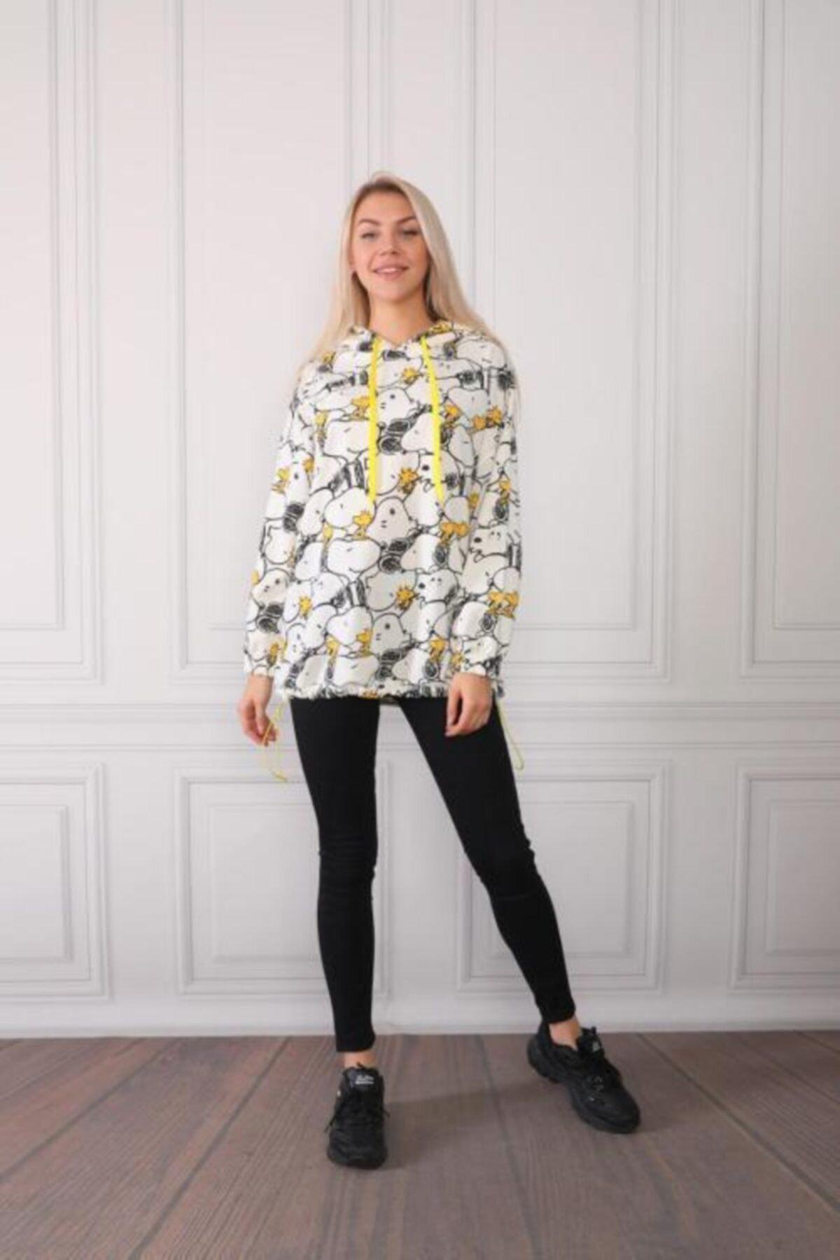 GERONİS Kadın Beyaz Kapüşonlu Sweatshirt
