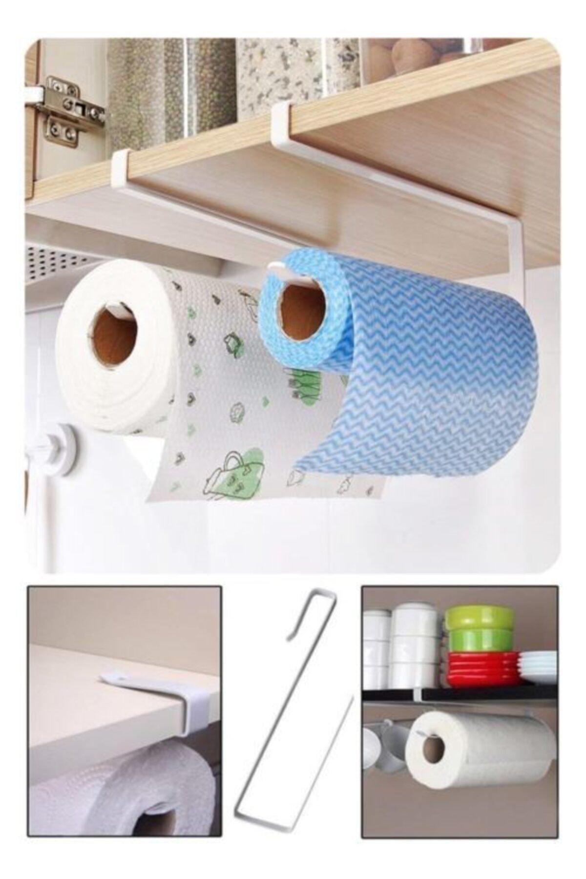 Mutfak Dolabı Raf Altı Metal Kağıt Havlu Askısı Aparatı Havluluk