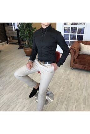 TerziAdemAltun Erkek Siyah  Italyan Kesim Slim Fit Saten Zincirli Gömlek T4090 3