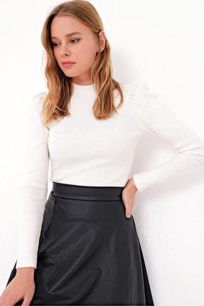 Trend Alaçatı Stili Kadın Ekru Prenses Kol Yarım Balıkçı Şardonlu Crop Bluz ALC-X5042 2