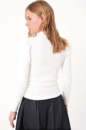 Trend Alaçatı Stili Kadın Ekru Prenses Kol Yarım Balıkçı Şardonlu Crop Bluz ALC-X5042 4