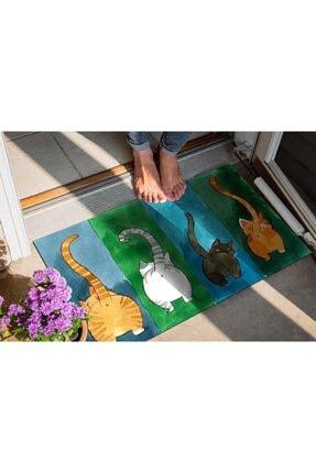 Evsebu Renkli Kediler Dekoratif Kapı Önü Paspası 2