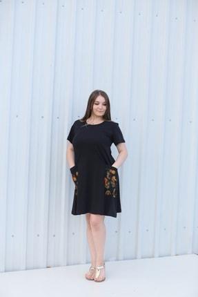 MGS LİFE Kadın, Renkli Cep Detaylı, Siyah Renkli, Büyük Beden Yazlık Elbise 0