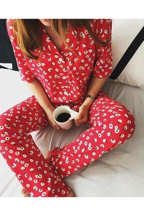 Best HomeWear Kadın Kırmızı Çiçekli Pijama Takımı 0