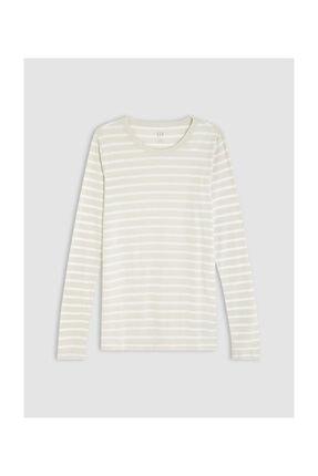 GAP Kadın Bej Çizgili Uzun Kollu T-Shirt 499741 0