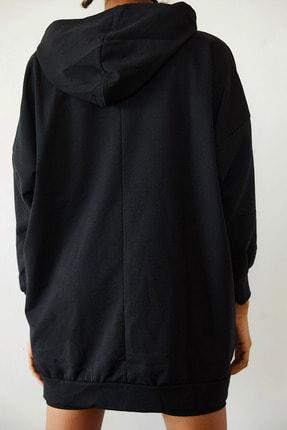 Xena Kadın Siyah Baskılı Kapüşonlu Uzun Oversize Sweatshirt 1KZK8-10739-02 3